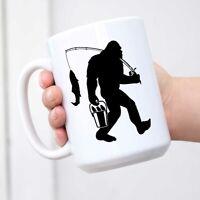 Fishing Bigfoot Funny Coffee Mug Fisherman Sasquatch Gift