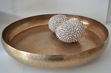Shabby Chic Tablett  Dekoschale gehämmert gold D37cm Metall