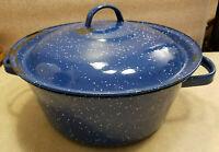 "Vintage Dark Blue and White Graniteware Enamelware Medium Soup Pot And Lid 10"""
