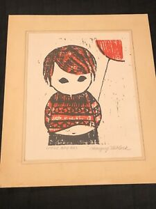 "MID CENTURY MARGERY NIBLOCK ""LITTLE BOY RED' "" Woodblock Print Signed"