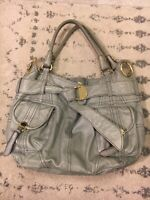 Steven By Steve Madden Purse 100% Buff Leather Grey Handbag Shoulder Strap L ~C7