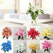 Flower Lillies 10 Head decor IBK Spray Best Artificial Stargazer lily 45cm Bunch