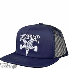 "THRASHER MAGAZINE ""Skategoat"" Trucker Mesh Cap Skateboard NAVY OSFA Sk8 Goat"