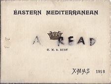 Xmas Greetings card 1918 HMS Ruby Eastern Mediterranean Fleet