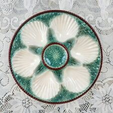 Longchamp French Majolica Oyster Plates Green Basketweave & White Scallop Shells