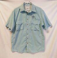 Guy Harvey Vented Fishing Shirt Blue Short Sleeve By Aftco Bluewater SZ. MEDIUM