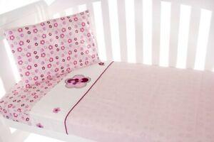 Amani Bebe 3pce Cot Sheet Set - Raspberry Garden
