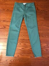 NWT Vineyard Vines Jeans Size 0 Skinny Raw Edge Starboard Green Cotton Stretch
