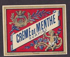Ancienne étiquette glacée Alcool  BN15448 Crème de menthe