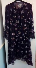 New Marks and Spencer Navy 2 Piece Floral Dress Size 14