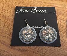 Laurel Burch Flutterbye Butterfly Earrings Cloisonne Silver Tone NW Retired Rare