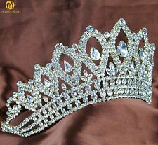 "Vintage Gold Tiara 3.5"" Crown Clear Crystal Bridal Wedding Pageant Party Costume"