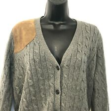 Ralph Lauren Womens XL Gray Cardigan Leather Patch Shoulder Hunting Cable Knit