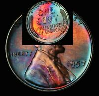 UNCIRCULATED 1957 P BU (24a) Rainbow Monster Toned Wheat Penny Lincoln Cent