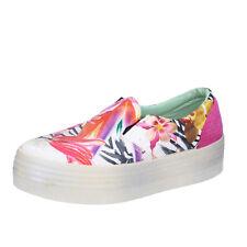 scarpe donna BEVERLY HILLS POLO CLUB 39 mocassini multicolore tessuto AG01-F