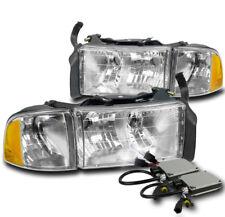 1999-2001 Dodge Ram 1500 Sport Chrome Headlights+Corner Lamp+6000K Xenon Hid Set