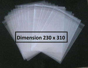 100 POCHETTES PLASTIQUE  PROTECTION BD BANDE DESSINEE 230 X 310