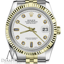 Men's Rolex 36mm Datejust 18K Yellow Gold & SS White Color 8+2 Diamond Dial