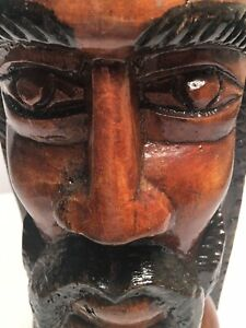 Vintage Jamaican Rasta Carved Wood BOB MARLEY? Head Art Sculpture