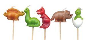 Dinosaurs Birthday Party Cartoon T-Rex Dino Mini Toothpick Candles - set of 5