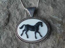BLACK HORSE CAMEO NECKLACE - HORSE LOVERS GIFT - HORSE COLLECTOR - EQUESTRIAN