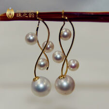 Gorgeous AAA+ 7-8mm real natural Japan Akoya white round pearl earrings 18k Gold