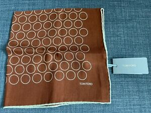 Tom Ford Brown Orange White Circle Silk Wool Cotton Blend Pocket Square