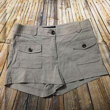 Bebe Womens Size 4 Beige Khaki Linen Blend High Waisted Flap Pocket Shorts