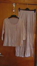 M&S 2 Part Pure Cotton Pyjamas Set 3/4 Sleeve Top/Long Pants 20-22 Pink Mix BNWT