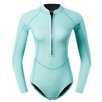 Women Shorty Wetsuit Long Sleeve 2mm Neoprene Front Zip Winter Swimwear Blue