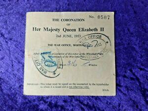 1953 Original ticket for the Coronation of Queen Elizabeth II