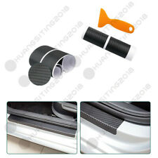 4PCS Car Acc Door Welcome Pedal Sill Scuff Protect Carbon Fiber Sticker Cover
