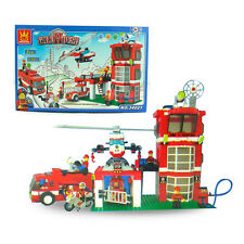 638Pcs Fire Station Engine Helicopter Building Block Bricks Set Educational Toy