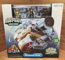2004 Hasbro Star Wars Galactic Heroes Millennium Falcon Han Solo Chewbacca C-3PO