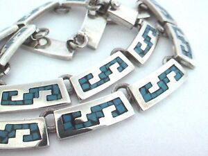"""Taxco Mexican 925 Sterling Silver Tribal Motif Turquoise Inlay Necklace. 88g,16"""""""
