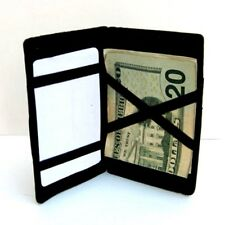 BLACK Real LEATHER MAGIC WALLET Men's Ticket Thin Credit Card Safety Holder SALE