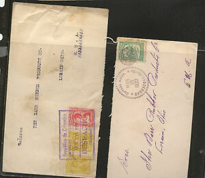 Colombia  2 nice cancel  covers  to  US         HR0415