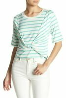 Abound women's Twist Front Short Sleeve Striped Top Green/White size Large