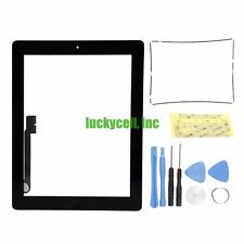 Black Adhesive Digitizer Touch Screen Glass For iPad 3 or 4 + Frame Bezel +Tools