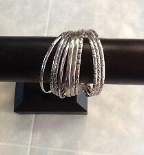 10 Etched Bangles Silver Aluminium 6.5cm Diameter Jay Jays