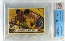 SUGAR RAY ROBINSON SIGNED AUTOGRAPH 1951 TOPPS RINGSIDE CARD #34 BVG JSA AUTO