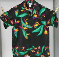 HILO HATTIE Men's (L) Hawaiian Black Button-Front Bird Of Paradise Shirt USA