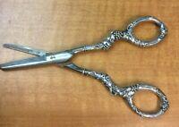 Gorham Sterling Silver Handle Victorian Grape Shears Scissors Rusty German Blade