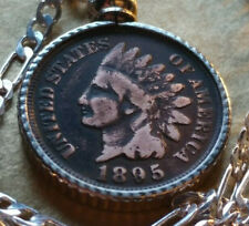 "1895 Indian Head Liberty American Penny Pendant on 20"" 925 Sterling Silver Chain"