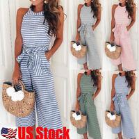 Women Stripe Sleeveless Long Jumpsuit Beach Romper Playsuit Dress Party Clubwear