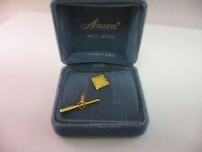 14K Gold Vintage Made in Usa Mens Beautifully Etched Square Tie Tack Pin Jewelry