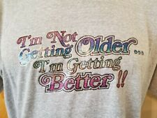 Vtg 80s T-Plus Old Age Humor t shirt L/Xl sparkle iron on gray 50/50 ironic