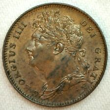 1821 Great Britain Copper Farthing Coin Uncirculated Dot After Date