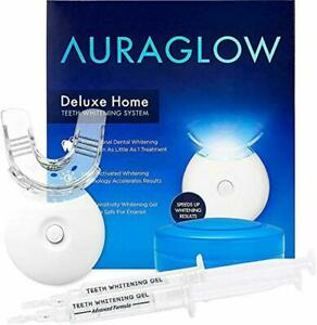 AuraGlow Teeth Whitening Kit, LED Light, 35% Carbamide Peroxide, (2) 5ml Gel Syr