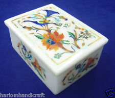 """4""""x3""""x2"""" Marble Jewelry Box Rare Peacock Mosaic Inlay Work Marquetry Decor H2110"""